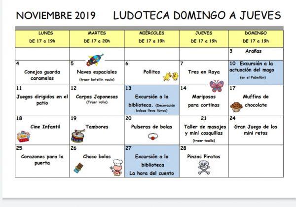 Calendario de la ludoteca noviembre