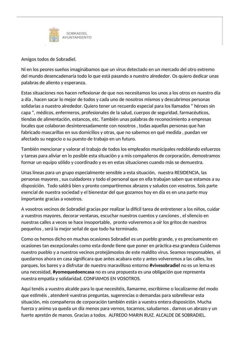 Carta del alcalde