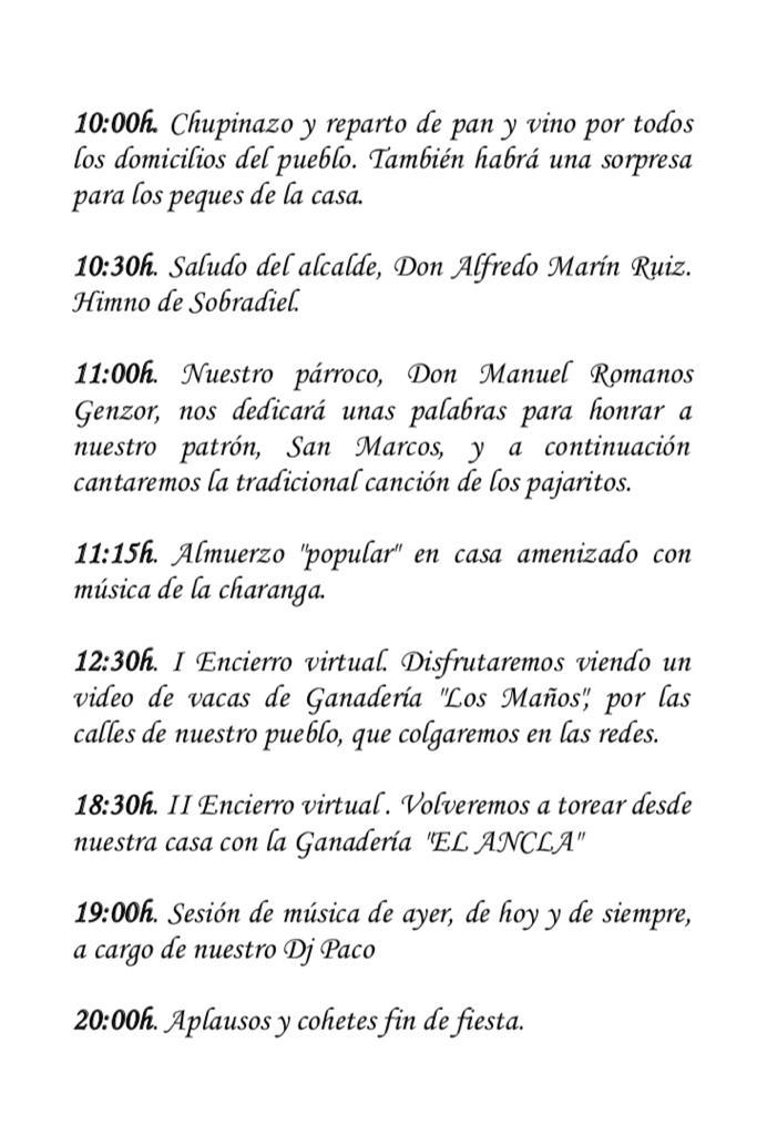 Programa. Fiestas San Marcos