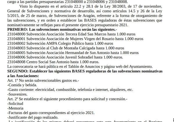 Bases reguladoras de subvenciones para asociaciones del municipio del año 2021