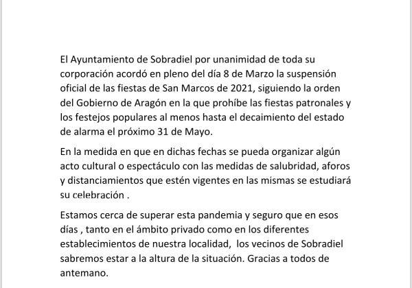 Suspensión fiestas patronales San Marcos 2021